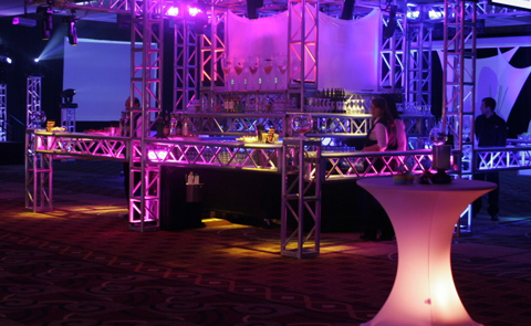spandex screens and cocktail tables with LED lighting