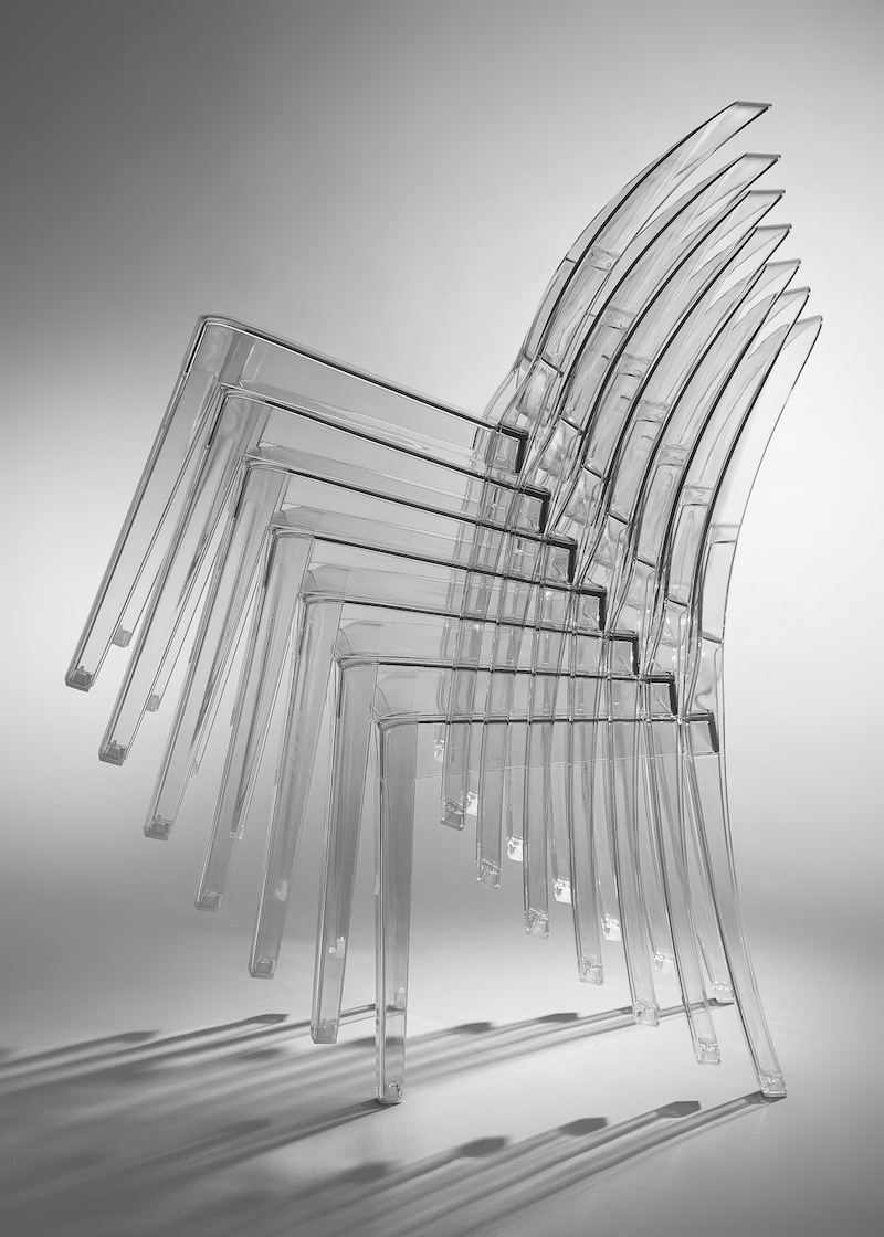 lucite chairs are stackable
