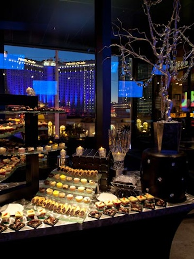 silver aluminum tabletop for dessert table at high end event at a hotel