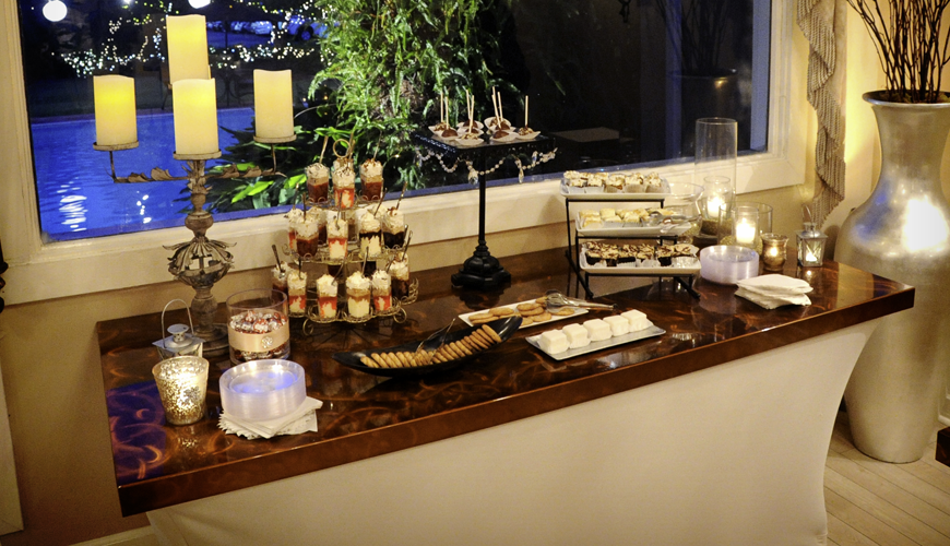 dessert buffet with copper aluminum tabletop