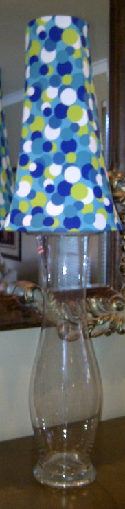 blue and green polkadotted spandex lamp shade