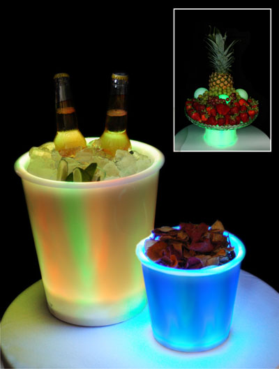 LED lit ice buckets