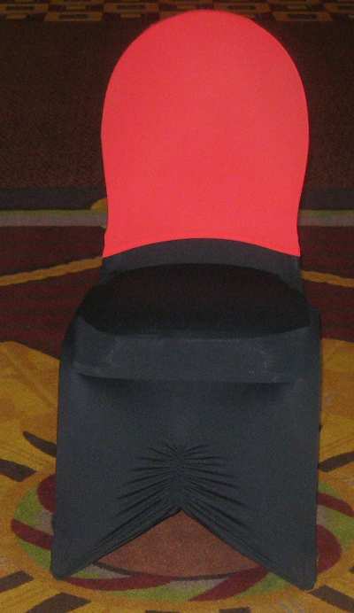 red chair cap over a black chair cover
