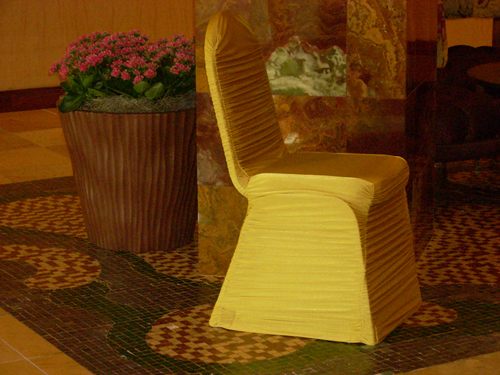 gold pleated chair cover