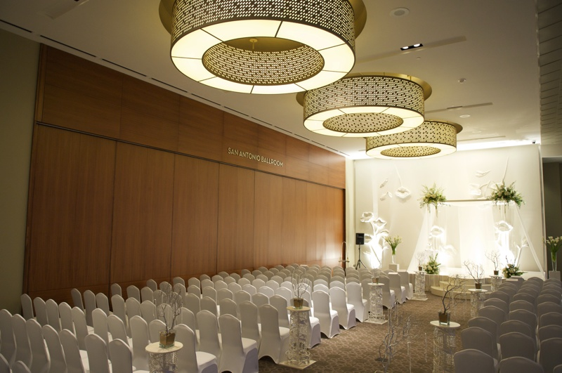 White spandex chair covers for a wedding