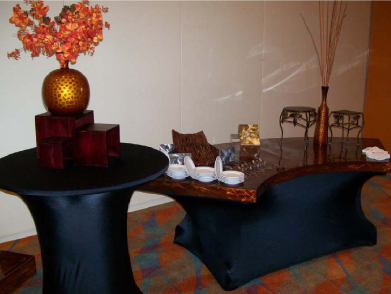 Copper aluminum table tops for welcoming table at hotel conference