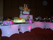 white spandex buffet tables with pink LED lighting